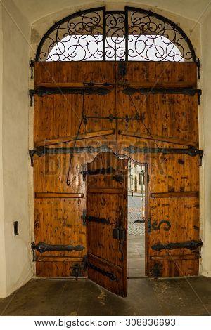 PRAGUE, CZECH REPUBLIC: Beautiful door. Prague Castle - an ancient symbol of the Czech State stock photo
