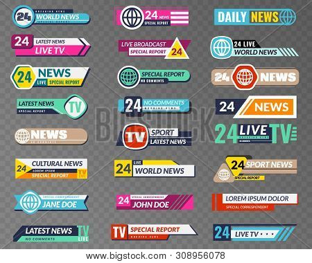 Tv banners. Broadcasting graphic interface, tv streaming lower bar title. News television channel screen header vector isolated video abstract broadcast hd show set stock photo