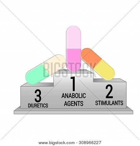 Pedestal with leading doping agents in sports. Isolated on white stock photo