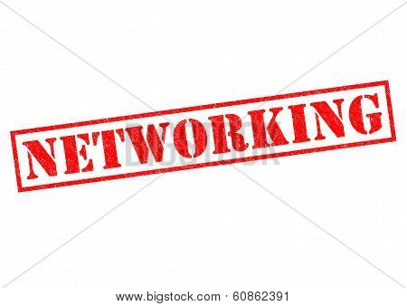 NETWORKING red Rubber Stamp over a white background. stock photo