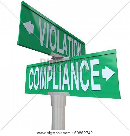 Compliance Violation Two Way Street Signs Direction Follow Rules stock photo