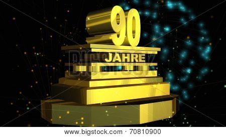 Digital Illustration of a golden Jubilee Lettering with Fireworks in the Sky stock photo