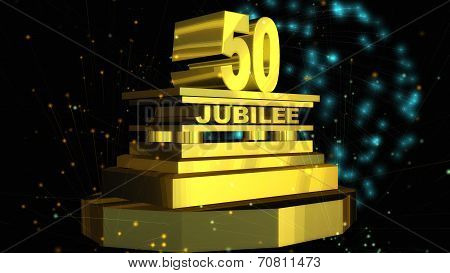 A golden 50 Jubilee Lettering stands on a Podium with Fireworks in the Sky. stock photo