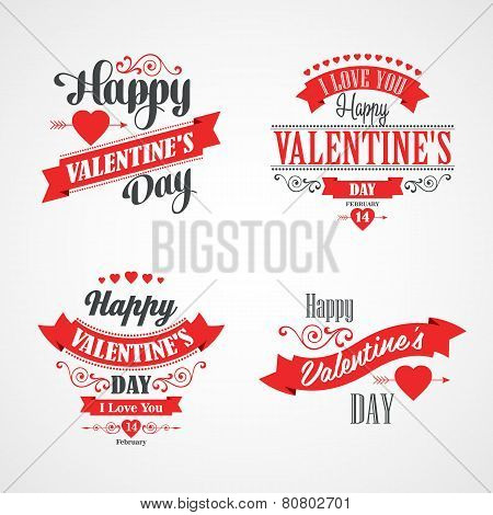 Happy Valentines Day Lettering Card. Typographic With Ornaments, Hearts, Ribbon and Arrow