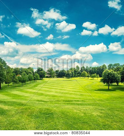 Golf Field And Blue Cloudy Sky. Beautiful Landscape With Green Grass-Lg Fridge Magnet Skin (size 36x65)