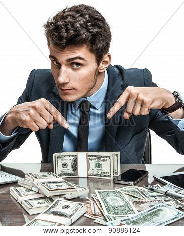 Employer showing his motivation earnings profit income earnings gain benefit margin stock photo