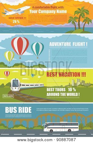 Set of Colorful Travel Banners with Flat Design. Flying airplane, Train, Bus, Hot Air Balloon.\ Trans
