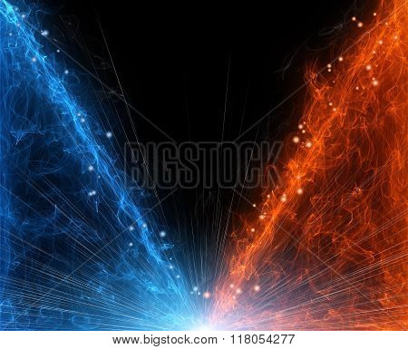 black abstract background hot and cold fire clash stock photo