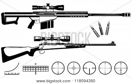 Vector sniper rifles and target isolated on white background stock photo