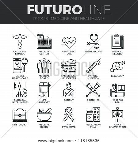 Modern thin line icons set of healthcare professionals and medical equipment. Premium quality outline symbol collection. Simple mono linear pictogram pack. Stroke vector logo concept for web graphics. stock photo