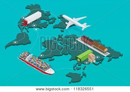 Global logistics network Flat 3d isometric  illustration Icons set of air cargo trucking rail transp