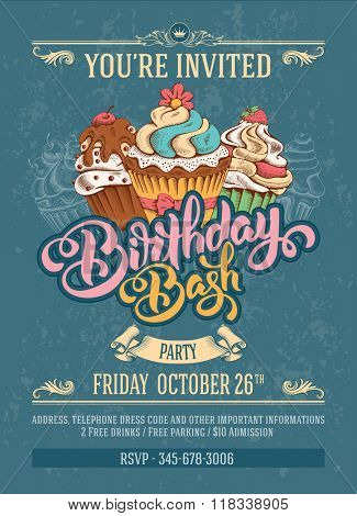 Invitation Card to Birthday Bash Party with Calligraphic Lettering Birthday Bash and Hand Drawn Swee