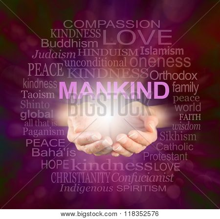 Female cupped hands with a ball of light and the word MANKIND floating above, surrounded by a relevant word cloud on a crackle effect ruby red background stock photo