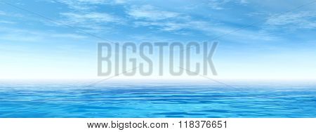 Concept or conceptual sea or ocean water waves and sky cloudscape exotic or paradise background bann
