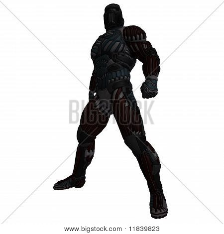 science fiction male character in futuristic suit. 3D rendering with clipping path and shadow over white stock photo