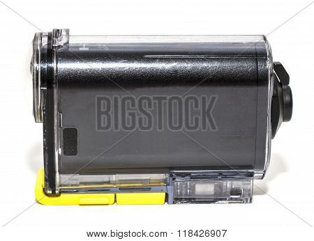 Camera Action Cam on a white background. stock photo