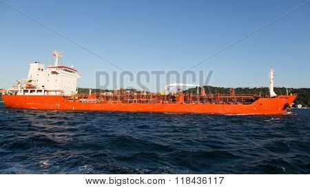 Orange Tanker Ship Passing in Bosphorus Strait stock photo