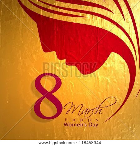Elegant greeting card design with creative illustration of a woman\'s face on golden background for 8