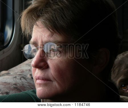 dog looking over shoulder of sad woman stock photo