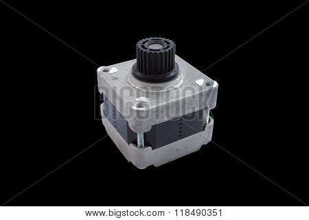 Used 4 Wire 24V Bipolar Brushless Stepping Motor Isolated stock photo