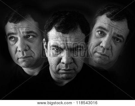 Schizophrenia. Double Exposure photo  stock photo