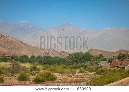 Morocco High Atlas Mountains Agricultural land on the fertile foothills near Ansi. stock photo