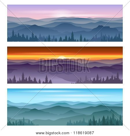 Sunrise at mountains sunset. Vector backgrounds