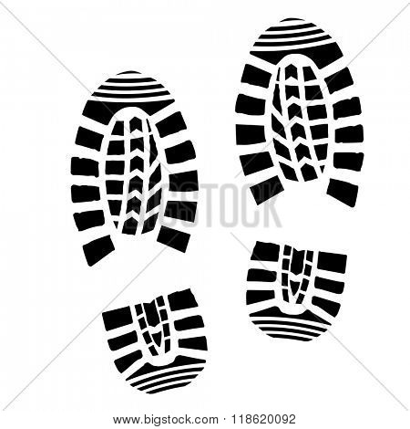 detailed illustration of simple shoe prints, eps10 vector stock photo