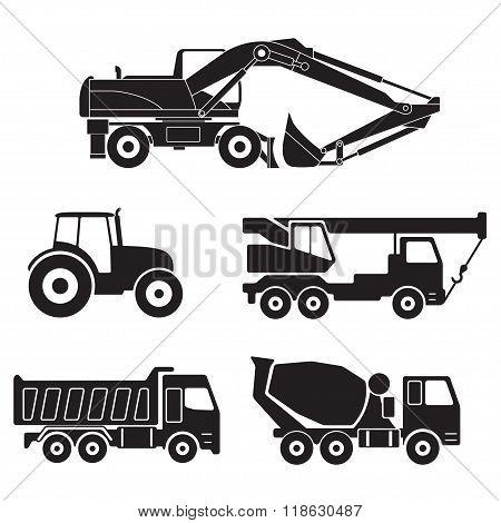 Construction trucks icon set. Concrete mixer truck, Truck crane, Dump truck, Tractor and Excavator.