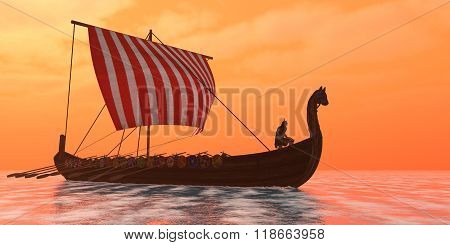 A Viking longboat sails through ocean calm waters to their destinations for trade goods. stock photo
