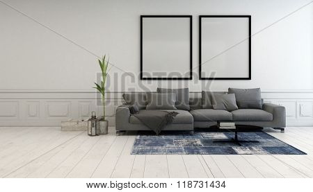 Minimalist grey and white living room interior with a comfortable upholstered couch below two large