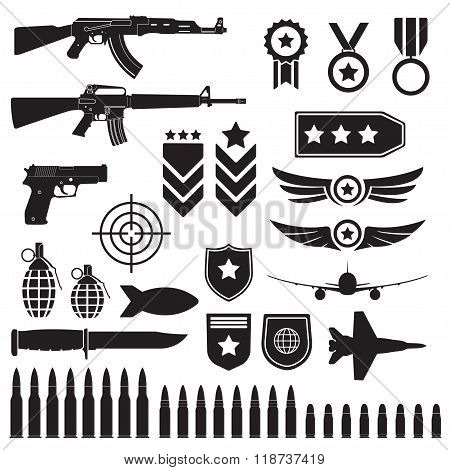 Weapons and military set. Sub machine guns, pistol and bullets black icons isolated on white background. Symbolics and badge for army. Vector illustration. stock photo