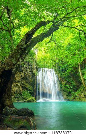 Forest Waterfall At Erawan Waterfall National, Kanchanaburi,thailand-Lg Fridge Magnet Skin (size 36x65)