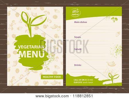 Template of a vegetarian menu for a cafe, restaurant, bar. Healt