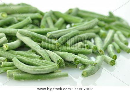 fresh frozen Green beans , close up shot stock photo