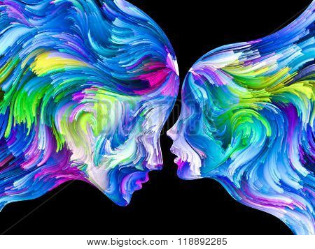 Colors In Us series. Arrangement of Human profiles and swirls of colorful paint on the subject of emotion passion desire feelings inner world imagination and creativity stock photo