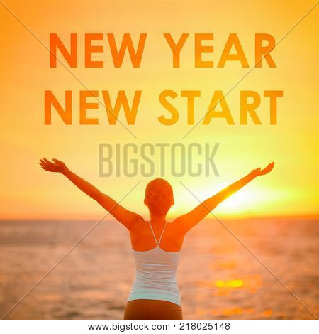 NEW YEAR NEW START motivational message, inspirational quotes for the New Year resolution in fitness