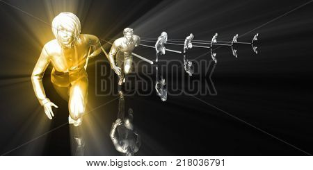 Leader Running Ahead of the Competition in  3d Render stock photo