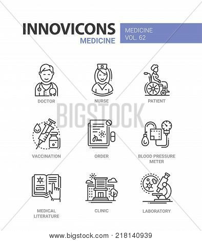 Medicine - line design icons set with description. Doctor, nurse, patient, vaccination, order, blood pressure meter, medical literature, clinic, laboratory. Collection of high quality web elements stock photo