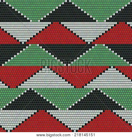 Bead ornaments. Abstract seamless pattern. African mosaic motif. Indigenous culture. Dark background. Simple backdrop for decoration, wallpaper or handywork. stock photo