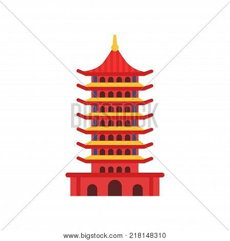 Chinese Pagoda building. Cartoon multi-tiered tower in flat style. Buddhist temple. Ancient architecture concept. Culture symbol of China. Icon in red color. Vector illustration isolated on white. stock photo