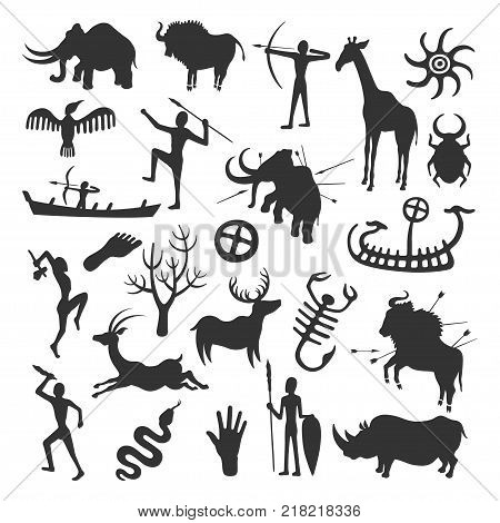 Cave painting set. Simple painting done by prehistoric people in caves, hunting and life painted in black on the wall. Vector flat style cartoon illustration isolated on white background stock photo