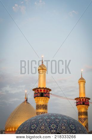 Shrine of Imam Hussain ibn Ali in Karbala Iraq stock photo