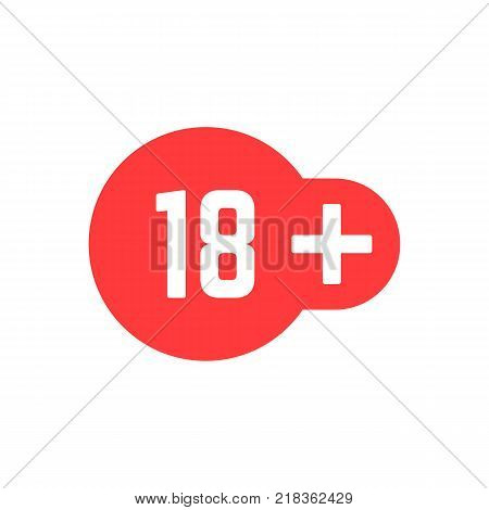 simple 18 plus red icon. concept of ui emblem, unusual ban symbol, censure, adult permit, x-rated, age limit mark. flat style trend logotype graphic stamp badge design on white background stock photo