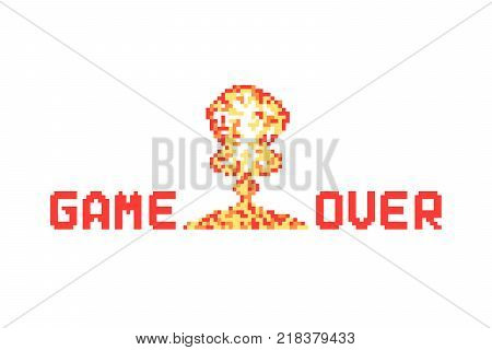 pixel art explosion like game over vector illustration. concept of 8-bit old sign for gamer and conflict with nuclear destroy. flat pixelart style logotype graphic design isolated on white background stock photo