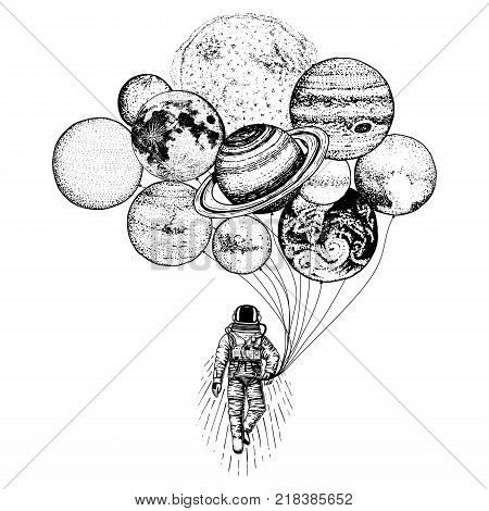 astronaut spaceman. planets in solar system. astronomical galaxy space. cosmonaut explore adventure. engraved hand drawn in old sketch. moon and the sun and earth, mars and venus, jupiter or saturn stock photo