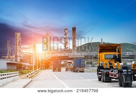 Truck on the road,Industrial logistics and transportation of Container truck