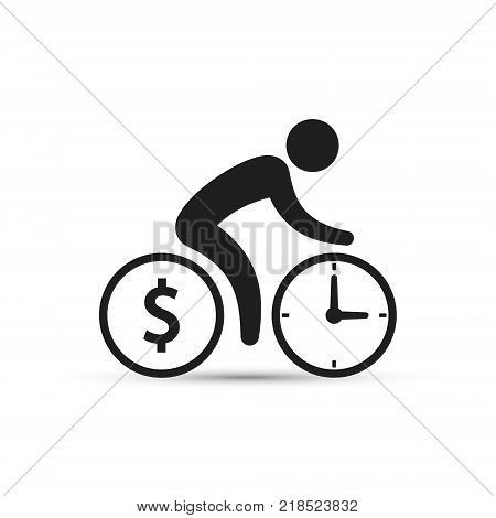 Business concept cyclist icon vector. Time is money concept. Bicycle wheels as a coin and clock. Simple isolated bicycle sign. stock photo
