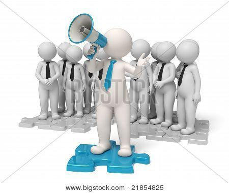 Team leader standing on a blue puzzle making an announcement through a megaphone in the name of his people - Communication concept - Isolated stock photo