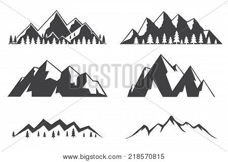 Set of mountains icons isolated on white background. Winter symbol for family vacation, activity or travel. For logo design, patches, seal, logo or badges. Mountains sign in flat style. Vector.